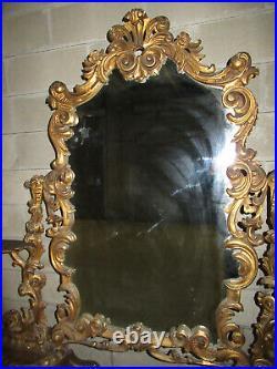 Spectaculaire Psyché Ancien Sur Pied Grand Miroir Bois Sculpté Style Louis XV