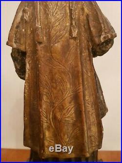 Statue religieuse ancienne en bois sculpté doré, époque XVIII ème s