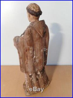 Statue sculpture ancienne religieuse bois sculpté polychrome 17 siècle Saint 1