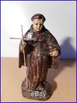 Statue sculpture ancienne religieuse bois sculpté polychrome 17 siècle Saint 2
