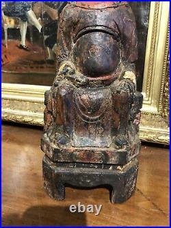 Statuette Chinoise Ancienne En Bois Sculpté Et Poliechrome