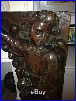 Superbe Cadre Magistral ancien Bois massif sculpté Décor d Anges Eglise Chapelle