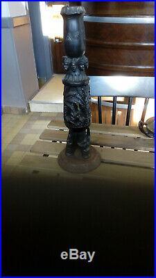 Superbe Pied De Lampe Ancien En Bois Sculpté Main Art Africain