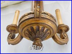 Superbe ancien Lustre Bois Doré Sculpté Style Louis XVI 1900 Carved Chandelier
