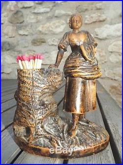 Superbe ancien pyrogène bois finement sculpté femme art populaire XIXe tilleul