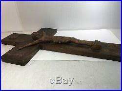 Superbe grand Christ en bois sculpté, 69 cm, Croix, crucifix, ancien
