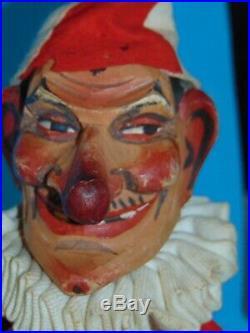 Superbe grande Marionnette ancienne tete bois sculpte Guignol/Punch 48cm