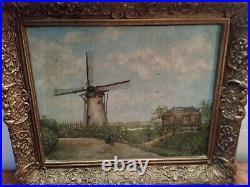 TABLEAU Hollandais ancien huile sur panneau cadre bois sculpté signé AE73 en TBE