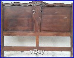 TÊTE et PIED DE LIT anciens en bois sculpté (XIXe siècle)