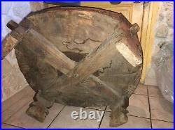 Table Basse Ancienne Pakistan Bois Sculpté Diamètre Environ 84 Cm