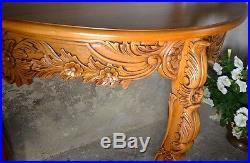 Table Console Sculptee Demi Cercle Bois Acajou Style Baroque Vintage Ancien
