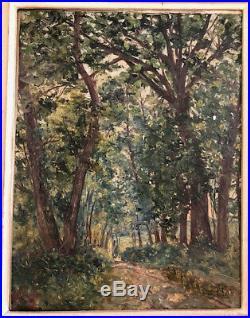 Tableau Ancien Huile Sur Panneau Foret Cadre Montparnasse Bois Sculpte