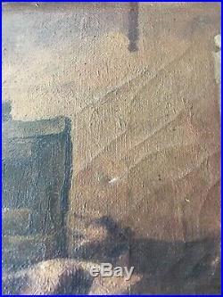 Tableau ancien HST époque 19éme vaches dans cour de ferme cadre en bois sculpté