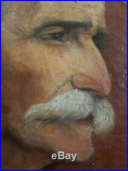 Tableau ancien huile sur toile portrait homme signé daté 1923 cadre bois sculpté