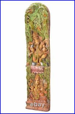 Tableau sculpté Ganesh 182 cm Objet ancien en bois restauré Inde D