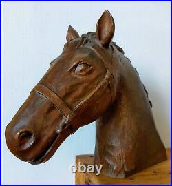 Tête de cheval ancienne en bois sculpté 31 x 40 cm