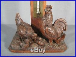 Thermomètre Foret Noire / Thermomètre Ancien Bois Sculpte Coq / Sculpture Coq