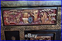 Tres Beau Ancien Meuble Chinois Laque Noir & Or Bois Superbement Sculpte