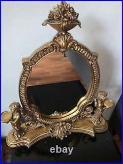 Très rare ANCIEN SUR PIED GRAND MIROIR BOIS SCULPTÉ STYLE LOUIS XV. Napoléon