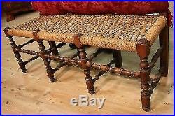 Triptyque canapé sofa chaises paille bois sculpté noyer fauteuils ancien 900 XX