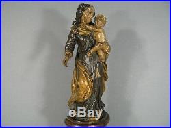 VIERGE A L'ENFANT EN BOIS SCULPTÉ XVIIIème SIÈCLE / SCULPTURE VIERGE ANCIENNE