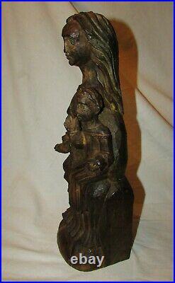 Vierge A L'enfant Statue Ancienne Bois Sculpte Sculpture