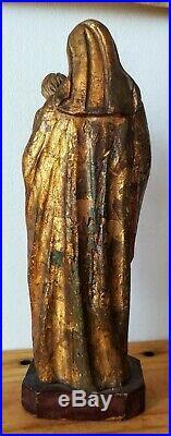 Vierge à l'enfant ancienne en bois sculpté doré 23 cm