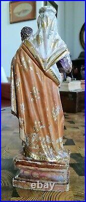 Vierge en bois sculpté ancienne 25 cm